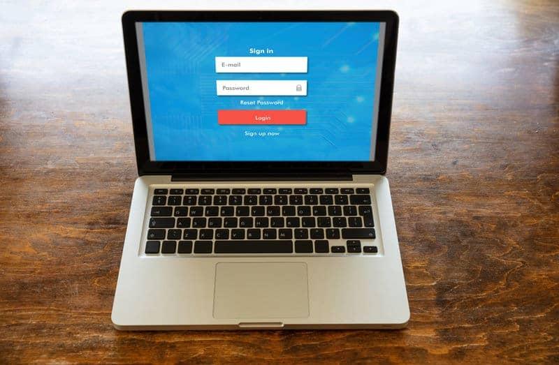 Password security storage program running on a laptop.