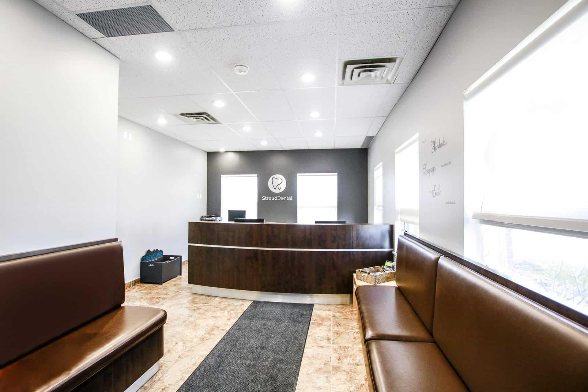 Stroud Dental clinic reception desk in Innisfil, Ontario